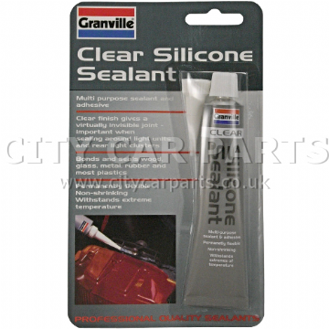 GRANVILLE 0374 CLEAR SILICONE SEALANT ADHESIVE MULTI PURPOSE WATERPROOF FLEX 40G